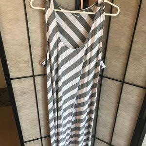 White and Gray Maxi Dress